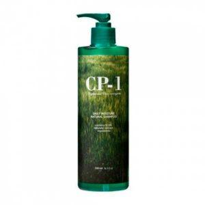 Esthetic House CP-1 Daily Moisture Natural Shampoo — натуральный шампунь для ежедневного применения с протеинами и зеленым чаем; не содержит искусственных красителей, парабенов и сульфатов, доля природных компонентов — 97,6 %. Средство подходит для ухода за волосами любого типа.