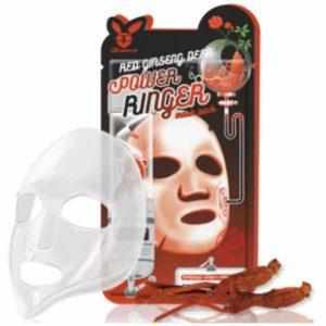 Тканевая маска для лица с Красным Женьшенем RED gInseng DEEP PQWER Ringer mask pack, Elizavecca